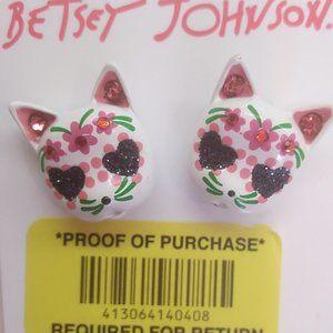 Betsey Johnson New White Cat Earrings